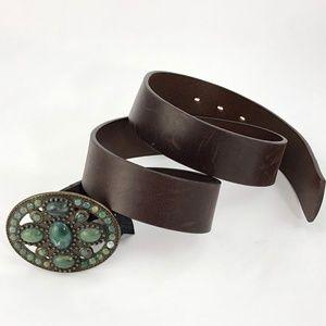 Mossimo Dutti Genuine Leather Belt Jewel Buckle